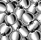 Seamless tomato background in woodcut style. Black and white vector illustration with clipping mask.