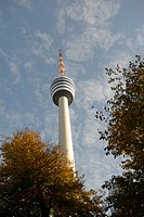 The Stuttgart TV tower in autumn, Stuttgart, Baden_Wuerttemberg, Germany, Europe