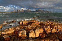 The Hazards behind Coles Bay in Freycinet National Park, Tasmania, Australia