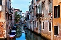 Castello district at dusk, Venice, UNESCO World Heritage Site, Venetia, Italy, Europe
