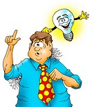 Illustration of a lightbulb knocking on a man´s head giving him an idea.