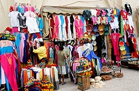 Clothing, souvenirs, keepsakes, souvenir shop in Djemaa el-Fna square, charlatans' place or place of the hanged, Marrakech, Morocco, Africa