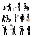 set of vector icons _ people in action. black pictograms on white