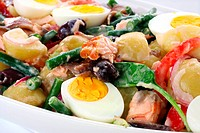 Salad Nicoise. Beans, potatoes, tomatoes, eggs, black olives, red onion, anchovies, and flaked salmon.