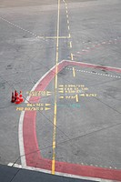 Markings on the concrete at the airport. Airport in Europe