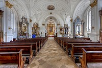 Interior view, parish church Mariae Himmelfahrt, church of the Assumption, Weilheim, Upper Bavaria, Bavaria, Germany, Europe
