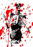 A 2D illustration of a skeleton covered in blood.
