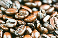 pile of brown roasted coffee beans
