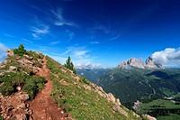 panoramic point over Pordoi pass on summer, Italian Dolomites
