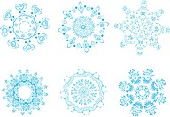 Vector illustration of icon set of 6 different snowflakes. Set_1