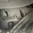 Close up surreal portrait of sleeping woman with petals on eyelids