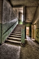 Abandoned lunatic asylum north of Berlin, Germany Stairway