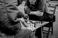 Two men playing chess on New Yorks Union Square