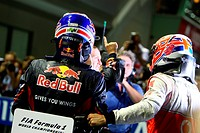 Race, Sebastian Vettel GER, Red Bull Racing, RB7 race winner, Jenson Button GBR, McLaren Mercedes, MP4_26, 2nd position and Mark Webber AUS, Red Bull ...