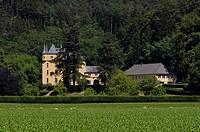 Schloss Strauweiler Castle, owned by the Sayn-Wittgenstein-Berleburg family, Valley of the Dhuenn, Odenthal, North Rhine-Westphalia, Germany, Europe, ...