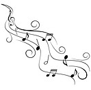 Music notes on swirling stave