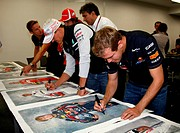 The 5 world champions with signed photos commissioned by Bernie Ecclestone GBR to then be put up for auction to raise money for the Japanese disaster,...