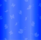 Vector seamless background, silhouettes white butterflies on blue background
