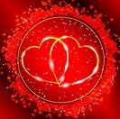 Red Valentine´s day greeting card with two golden hearts