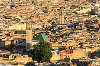 Aerial view of Fes Old Town.Morocco, Fes, Medina Old Town