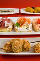 Tapas, Spanish starters.Tapas, Variety of appetizers or snacks in Spanish cuisine, Spain, Europe
