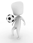 3D Illustration of a Man Playing with a Soccer Ball