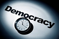 Clock and word of Democracy for background