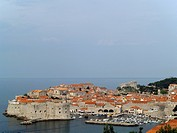 Dubrovnik cityscape telezoom shot from far mountain