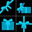 parcel with blue bow set