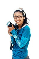 Thai woman with a Nikon DSLR camera, Thailand, Asia