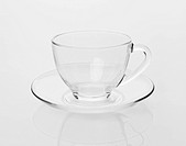 empty tea cup and saucer on a white background