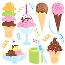 Ice Cream Party with ice cream cones, hot fudge sundae, banana split, candle and confetti