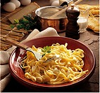 Fettuccine in a cheese-cream sauce, Italy, recipe available for a fee