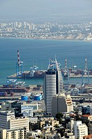 Port of Haifa with Sail Tower, Israel, Middle East, Western Asia, Asia