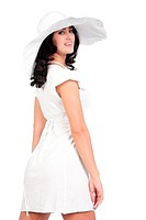beautiful young fashion woman in white dress and hat
