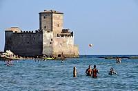Torre Astura, medieval fortress, 10th Century, Tyrrhenian Sea near Nettuno, Lazio, Italy, Europe