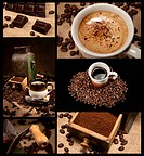 Coffee decoration collection on brown and black background