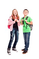 School children, boy and girl, with backpacks isolated on white