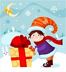 vector illustration of a cute christmas card