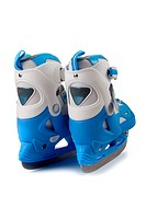 Blue children´s skates on a white background