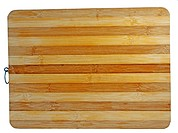 Wooden chopping board over white, with alternate colors of wood