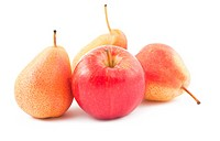Red apple and ripe pears on white background