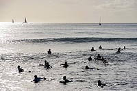 People on surfboard in water waiting the wave.People on surfboard in water waiting the wave, Waikiki, Oahu Island, Honolulu, Oahu Island, Hawaii Islan...
