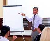 Young african_american businessman making a presentation