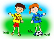 Fun boy and girl cartoon outline playing soccer or football in their team uniform large format.