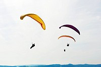 Extreme sports: Three colorful paraglider in the air.