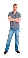 Sports guy in jeans is isolated on a white background