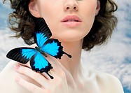 girl and a beautiful butterfly