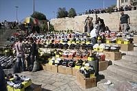An open air market offering shoes near the Damascus gate in the old city of Jerusalem