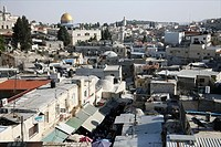 View of the old city of Jerusalem from the Damascus gate